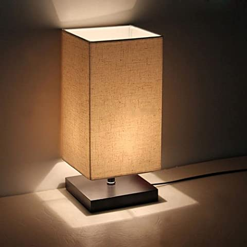 Saint Mossi® Minimalist Novelty Romantic Wood Table Lamp with Fabric Shade for Bedroom Bedside Desk