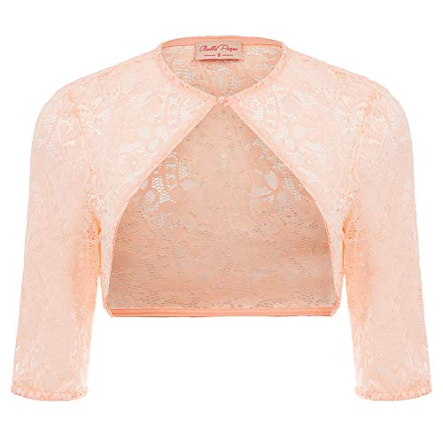 Belle Poque Bolerojacke Damen rosa 3/4-Arm lace Schulterjacke Strick Bolero 2XL BP900-3 Lace Arm