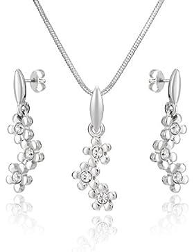 LillyMarie Damen Silber Schmuckset Silber 925 Anhänger Blumen-Muster mit original Swarovski Elements Kristallen...
