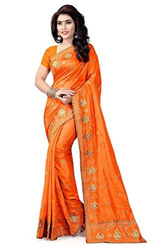 Riva Enterprise women's border cutting heavy patten paper silk embroidred orange color...