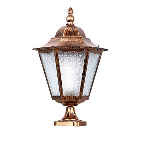 Antike Wasserdichte Säulenlampe Vintage Outdoor Single Head E27 Led Post Licht Durable Glass Shade Säule Lampe Patio Community Path Desktop Leuchte (Farbe: Bronze) - Klassisches Single-outdoor-led