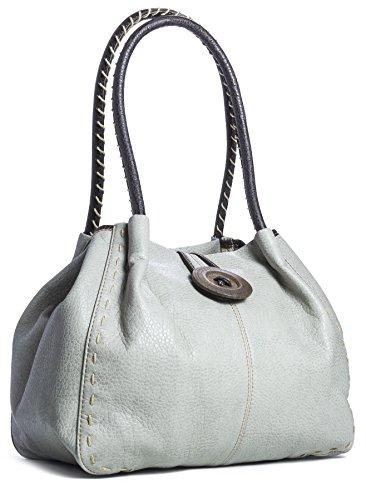 BHBS Femmes Branché Boutique Designer à Gros Bois Boutons Détail Sac à Main épaule 32x25x16.5 cm (LxHxP), Gris - Medium Grey, One