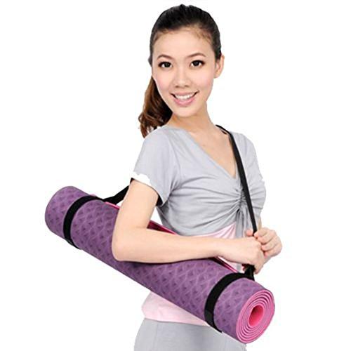 Yogamatten Schulter-Tragegurt 80cm lang mit 2 Gummibandschlaufen Grau 2cm breit