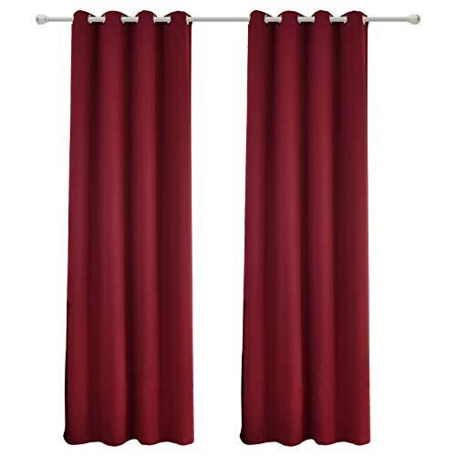 WOLTU #488-2, 2 x Gardinen Vorhang Blickdicht mit Ösen, 2er Set leichte & weiche Verdunklungsvorhänge für Wohnzimmer Schlafzimmer Tür, 135x225 cm, Bordeaux