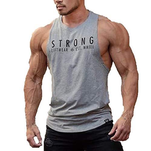 484e0daff1c Sunnywill Maglietta da Uomo Senza Maniche Bodybuilding Canotta Tee Canotta  Fitness Sport Vest Nera Shirt Tank