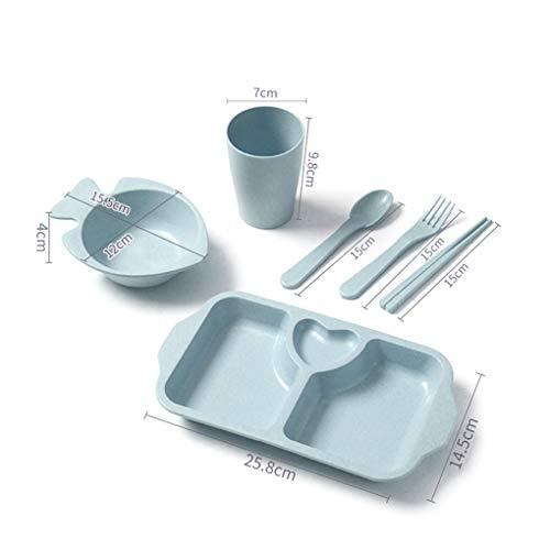 Bomcomi 6pcs Kinder Geschirr Set Leichte Platte mit Divider und Griff Abbaubare Geschirrspüler Safe Kunststoff