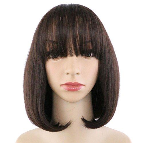 Eseewigs élégant résistant à la chaleur Synthétique Bob Style Neat Bang brun foncé court droite Cosplay perruque pour les femmes