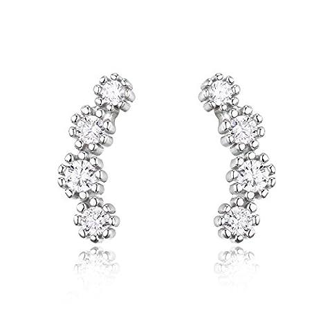 JewelryPalace 925 Sterling Silber Mond Kubische Zirkonia Ohrstecker