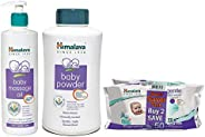 Himalaya Baby Massage Oil (500ml), Gentle Wipes (72 Napkins of 2 Packs) and Powder, 700g Combo