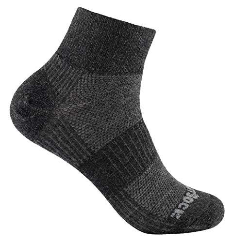 Merino Wolle Quarter Socken (Wrightsock Sportsocke grau-schwarz mittellang Quarter Coolmesh II Merino Wolle -anti-blasen Gr. L)