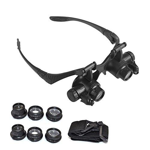 Feeyond Schutzbrillen Uhr Reparatur LED-Leuchten Und 4 Lupen 10/15/20 / 25X Linsen/Schmuck / Uhren