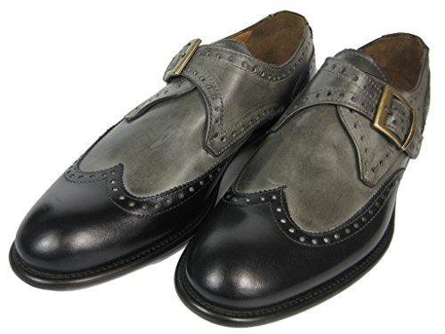 GIORGIO SCARPE Monk Strap Budapester Leder Schuh Ledersohle 1424 Handgenäht grau-schwarz/whisky Schwarz
