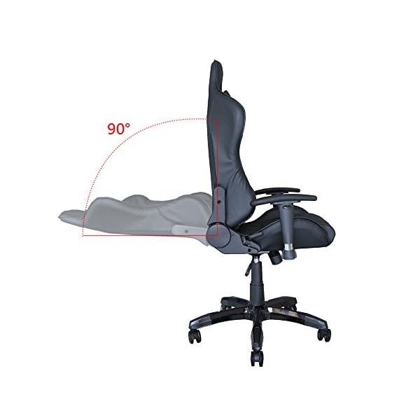 Hengda Racing Silla Sillón giratorio de oficina Silla ejecutiva Sillones de carreras tapizados de primera calidad Ergonomica Sillón de oficina ejecutivo ajustable Capacidad de carga 200 kg Negro/rojo