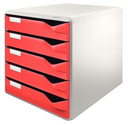 Preisvergleich Produktbild Leitz 52800025 Schubladenset Post-Set, 5 Schubladen, lichtgrau/rot