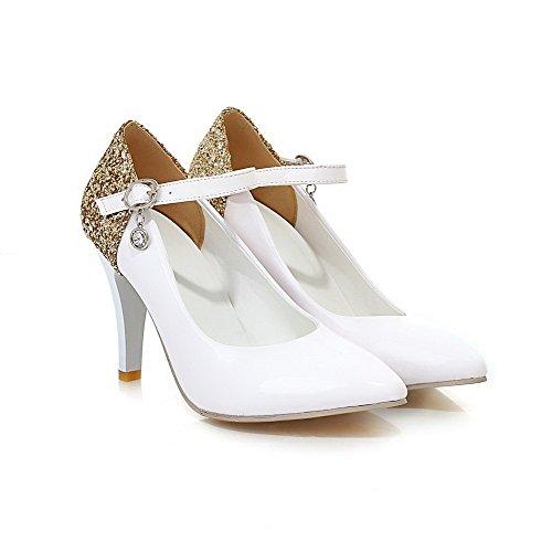 VogueZone009 Donna Luccichio Colore Assortito Fibbia Scarpe A Punta Tacco Alto Ballerine Bianco