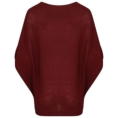 T-shirt à manches longues en maille de coton Taille 36-46 Du vin