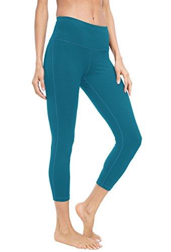 Yoga Capris Power Flex Hosen Laufhose Training Laufende Leggings Farbe See Blau Capris Größe L ()