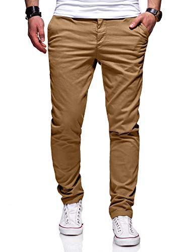 behype. Herren Basic Chino Jeans-Hose Stretch Regular Slim-Fit 80-0310 Beige W32/L32 Slim Fit Chino
