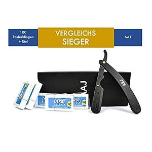 AAJ Premium Rasiermesser Set für Herren und Damen inklusive 100 Wechselklingen – Präzises Klapprasiermesser mit Anleitung + Etui – Bartmesser