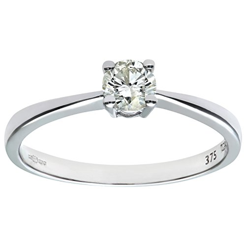 Naava 9ct White Gold Solitaire Engagement Ring, IJ/I Certified Diamond, Round Brilliant, 0.33ct