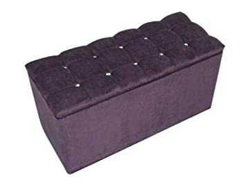 Storage Ottoman Pouffe Seat Stool Box in Putple Chenille Fabric