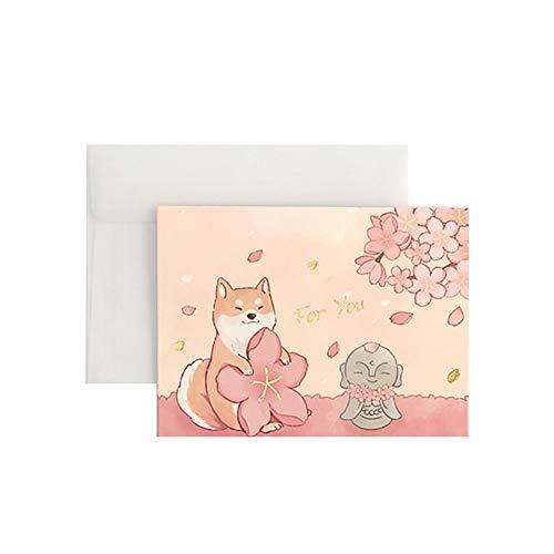 Qifumaer 1 Stück Tier-Grußkarte niedliche Vintage Tiervielfalt Heißstempel Sakura Grußkarte Muttertag Geburtstag Karte Business Einladungskarte mit transparentem Umschlag pink kitten