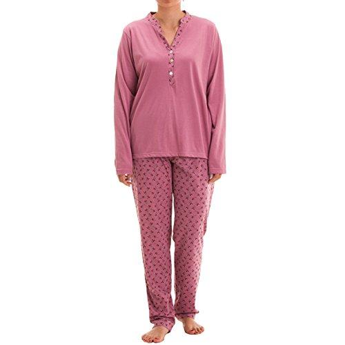 Zeitlos Pyjama Set Nora Langarm mit Knopfleiste und Blütendruck am Kragen und Hose Schlafanzug V-Ausschnitt Hausanzug (XL, Pink)