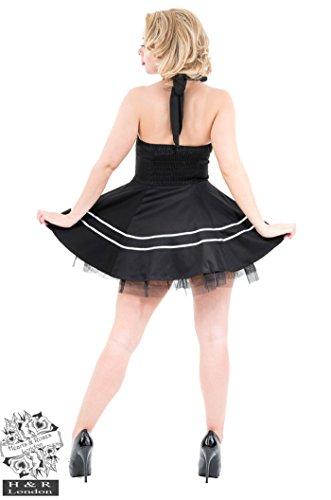 Retro 50s DINER 2-Tone Rockabilly PETTICOAT Kleid - Schwarz Schwarz / Weiß