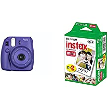 Fujifilm Instax Mini 8 - Cámara instantánea (flash, 1/60 sec) color violeta + 4 paquetes de películas fotográficas instantáneas (10 hojas)