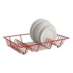 Fil métal rouge Evier Égouttoir à vaisselle assiettes, égouttoir N Support et plateau