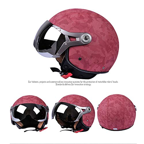 TIUTIU Caschi Moto Four Seasons Half Helmets Leather Retro Helmets Primavera E Autunno Uomo E Donna
