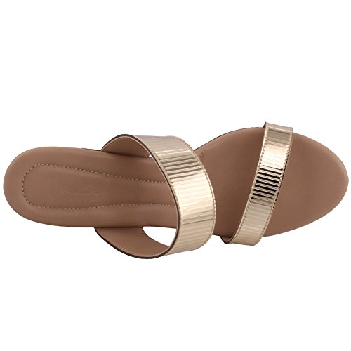 """Unze Women """"Aidda"""" Double Strap Festival Carnival Casual Caleçon Caleçon Chaussons Chaussures Taille 3-8 Or"""