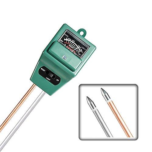 Highdas 3-in-1 Bodenfeuchtigkeitsmessgerät mit Feuchtigkeit, Licht und PH-Test-Funktion indoor & outdoor keine Batterie erforderlich, geeignet Testen pH Säure, Feuchtigkeit und Sonnenlicht für Landwirtschaft, Gartenbau