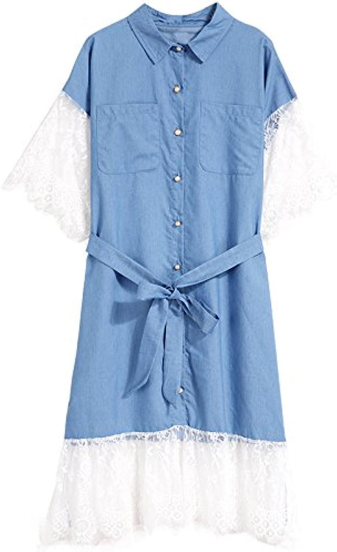 ... Xmy Maglietta Gonna Jeans Donna Moda di Estate Pizzo di Moda Cucitura  delle Cinghie afd74034281