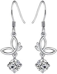 Chaomingzhen rhodiniert 925 Sterling Silber Schmetterling Zirkonia baumeln Ohrring für Damen Weise Schmuck