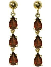 8e4982961 Stunning solid 9ct yellow gold Ladies pear cut natural Garnet triple drop  earrings
