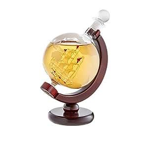 amavel carafe whisky en forme de globe fermeture tanche bouteille avec bateau et. Black Bedroom Furniture Sets. Home Design Ideas