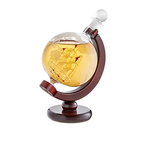 Licorera para whisky como Globo Terráqueo - Jarra con cierre hermético - Botella con grabado de mapa del mundo - Barco en el interior - Decantador - Fabricado en mano - Volumen: 650 ml