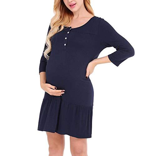 BfmyxgsSchwangeren Kleid Frauen Mutterschaft Stillen Knopf Rundhals Kurzarm Kleid