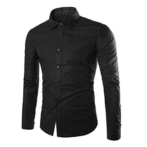 Gdtime Herren Hemd Klassisches Businesshemd Reine Farbe Hemden Langarmhemd Bügelleicht, XXXL-Größe/Schwarz (Schwarz, XXXL)