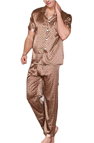 CuteRose Mens Cozy Breathable Charmeuse Short Sleve Plaid Loungewear Set Coffee XL Charmeuse-print-shorts