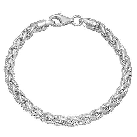 Men's 5mm Solid 925 Sterling Silver Wheat Bracelet, 8