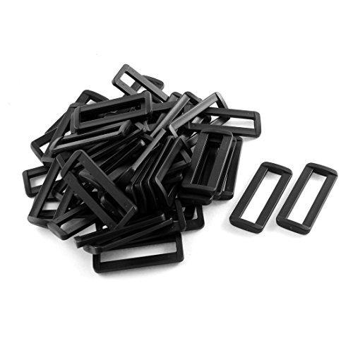 Dealmux 50 pcs Plastique Noir Barre diapositives Boucles pour 2 sangles