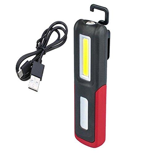 Blesiya LED Arbeitsleuchte Notfall Arbeitslampe, Magnet Clip und USB-Ladekabel Inklusive - rot, 155x 45x30mm
