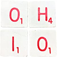 OHIO: Set of 4 Hand-Stamped Tile Coasters (Red) by Pearl
