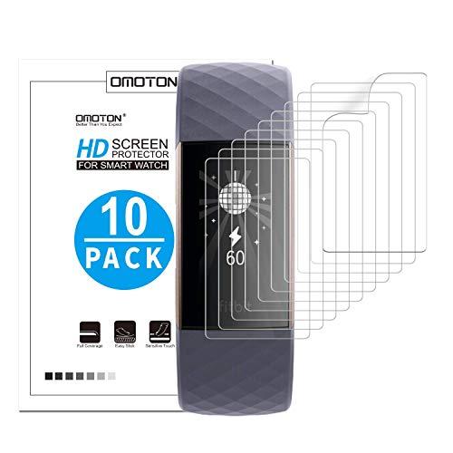 OMOTON [10 Stück] TPU Displayschutzfolie für Fitbit Charge 3, vollständige Abdeckung, Hüllefreundlich, Ultra-dünn, Anti-Fingerabdruck, Anti-Schmutz, Anti-Reflex, Hoch Transparenz