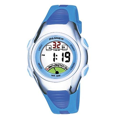 FOME PASNEW di alta qualità impermeabile unisex Dual Time Ragazzi Sport Orologio + FOME regalo Blue
