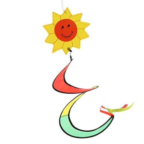 F Fityle Regenbogen Wind Socken Bunte Hängende Wind Spiralen Windmühlen Garten Hof Hängende Dekoration Im Freien - Sonne (Hängende Dekoration Sonne)