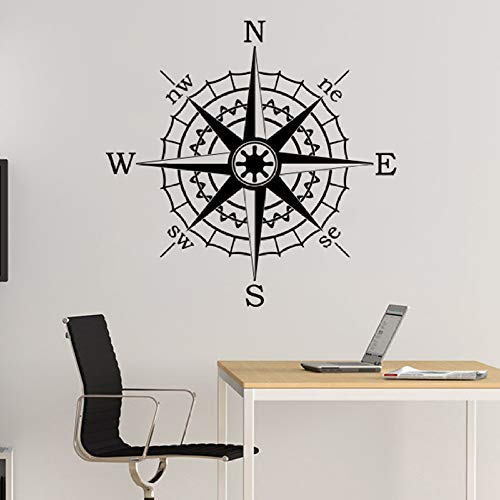 Bussola nautica Nave di navigazione Rose Wall Stickers Vinyl Stickers Marine Living Room Bedroom Decoration Adesivi murali decorativi nautici 15 blu 42x42cm