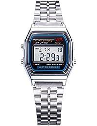 Vintage para Mujer Hombres Square Dial reloj de pulsera LED Digital reloj despertador plata